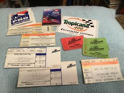 NASCAR COLLECTIBLE TICKET CHICAGOLAND SPEEDWAY Lot Of Vintage Memorabilia