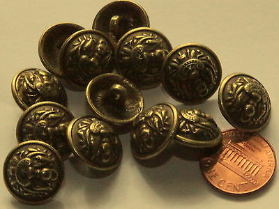 """144 pcs 1 Gross Domed Heavy Antiqued Brass Tone Metal Buttons 5/8"""" 16mm # 5006"""