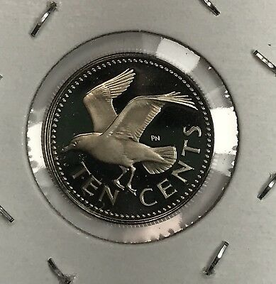 1975 Barbados Proof 10 Cent Dime. Collector Coin For Your Set Or Collection.