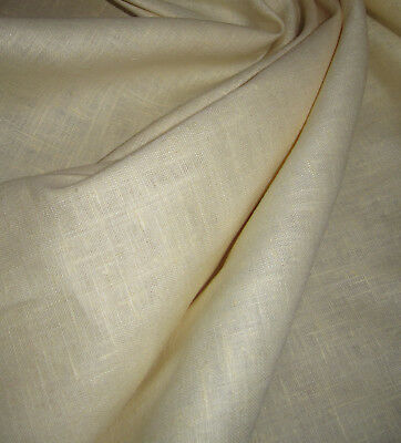 Light Moonlight Yellow 100% Linen Fabric 6oz Medium/Heavy Weight By The Yard