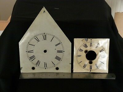 Two Antique clock faces, square one from a Seth Thomas clock