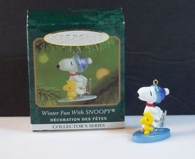 Hallmark 2001 Winter Fun With Snoopy #4 Woodstock Skating Miniature Ornament