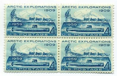 Iditarod Alaskan Huskies & Arctic Explorers 58 Year Old Mint Vintage Stamp Block