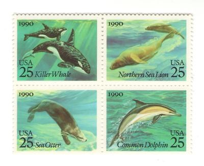 Large Fish Whale Sea Lion Dolphin Otter 27 Year Old Mint Vintage Stamp Block