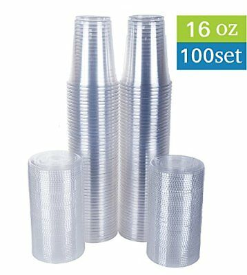 TashiBox Disposable Plastic Cups with Flat Lids 100 Sets 16 oz Crystal Clear