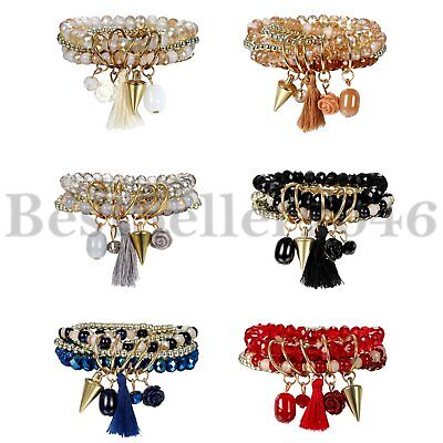 Multilayer Bohemian Beaded Bracelet Spike Rivet Charm Stretch Beach Bangle Women