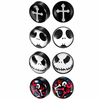 10MM Men Women Punk Skull Cross No Piercing Magnetic Stud Earring Halloween Gift