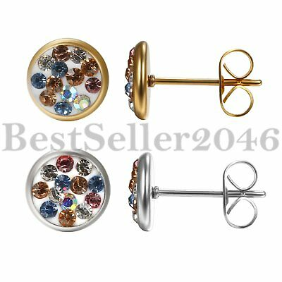 2pcs Shiny Rhinestone Round Circle Stud Earrings for Women Wedding Party Earring