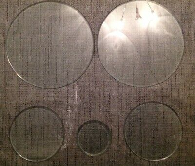 Five Bevelled Clock Glases Spare Parts 2X138Mm One Nibbled And 55 84 90Mm Diam.