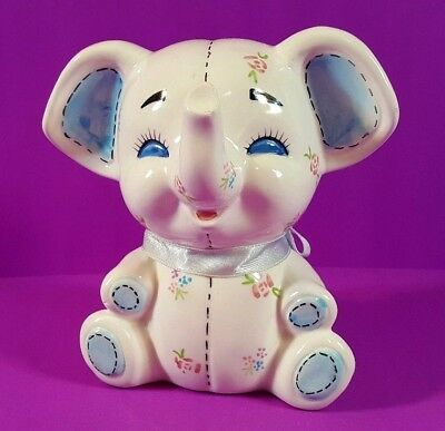 Hand Painted Ceramic Elephant Coin Bank - Excellent Condition