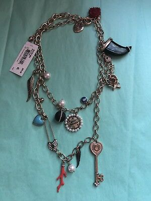 Betsey Johnson Gold LUCKY CHARMS Key Coral Horn Charm Long Station Necklace NWT