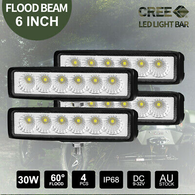 6 inch 30W LED Light Bar CREE FLOOD Work Offroad 4x4 4WD Truck Fog Lamp 2 Pairs