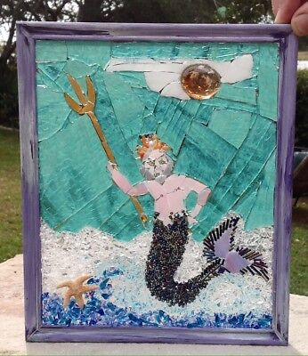 Stained Glass Window Poseidon Neptune Ocean God Trident Nautical Art Sea Unique