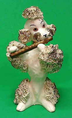 Rare Vintage 1950's Porcelain Spaghetti Poodle playing Flute