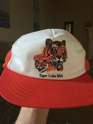 Vintage Boy Scouts BSA Tiger Cubs Mesh Trucker Snap Back Baseball Hat Cap S M
