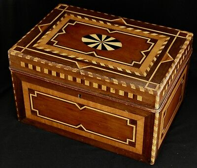 Fine Antique Marquetry Wood Storage Box Inlaid Geometric Design 13x9x8""
