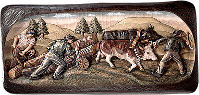 Imagen Relieve Transporte Leña- Wood Transport Wood Carved Relief Icon
