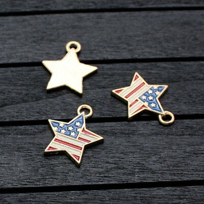 10 pcs Independence Day American USA Flag Charms For Necklace Bracelet Jewelry