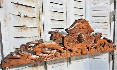 Architectural Lion Pediment Antique French Hand Carved Wood Salvaged Carving