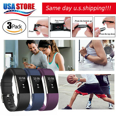 3 Pack Replacement Wristband For Fitbit Charge 2 Band Silicone Fitness Small