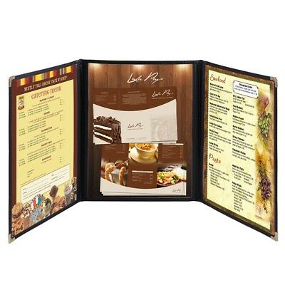 "30pcs Menu Cover 8.5X11"" 6 View Triple Fold Trim Cafe Restaurant Hotel Black"