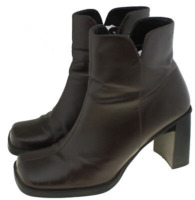 1977164ba81b HELMUT LANG WOMENS Brown Leather Ankle Boots Side Zip Booties Italy ...