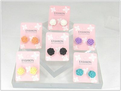 Wholesale Lot Bulk Lot of 6 pairs Color Rose Steel Post Earrings Studs