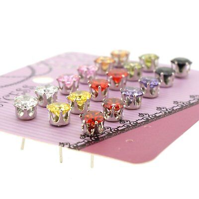 Lot of 9 pairs CZ Cubic Zirconia Studs Earring for Teen Girls Women Jewellery