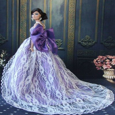 Handmade Purple Royalty Doll Princess Dress For Barbie Doll Clothes PartyGown WL