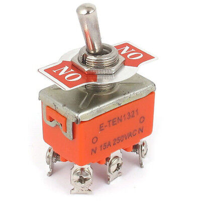 DPDT ON/ON 2 Positions 6 Screw Terminal Toggle Switch AC 250V 15A LW