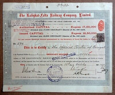 India 1933 THE KALIGHAT FAALTA RAILWAY COMPANY LIMITED share cerificate