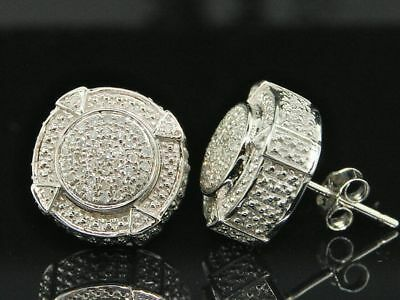 Mens Diamond 3D Circle Earrings .925 Sterling Silver Round Pave Studs 1 Ct.