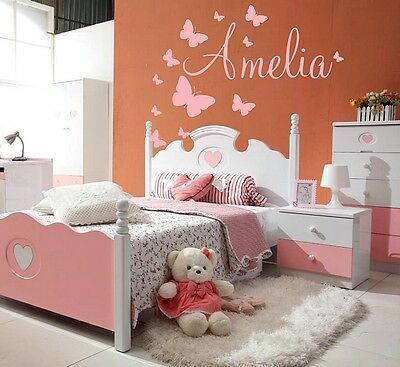 Baby Name Wall Stickers Butterflies Girls Boys Kids Personalised Decor New