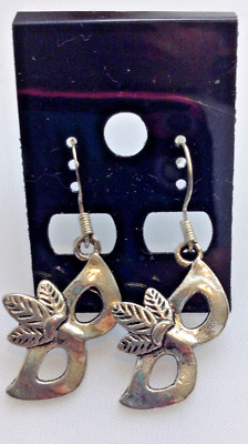 "Antique Silver ""mardi Gras Mask"" Dangle Earrings Handmade"