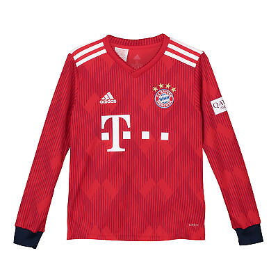 Official Bayern Munich Football Home Jersey Shirt 2018-19 Kids Tee Long Sleeve