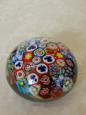 Vintage Millefiori Hand Blown Art Glass Paper Weight Concentric Cane Flowers