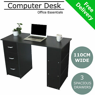 Black Computer Desk Home Office Student Study Writing Table Small Writers Wooden