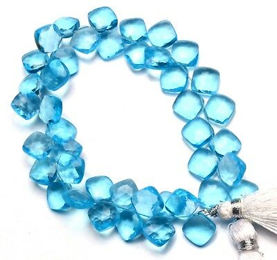 "Blue Topaz Gem Color Quartz 8MM Approx. Faceted Cushion Shape Beads 7.5"" Strand"