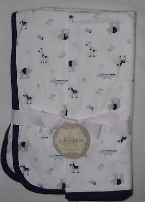 Kyle & Deena Jungle Animal Baby Receiving Blanket Gray White Blue Trim Safari