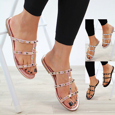 408aa631f3f5f New Womens Low Heel Studded Sandals Peep Toe Mule Holiday Comfy Shoes Sizes  3-8