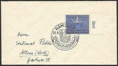 "Germany #B144 1939  ""Blue Ribbon"" used on cover. Michel 698"
