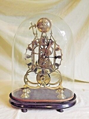 Victorian Brass Fusee Skeleton Clock & Dome Working Order.