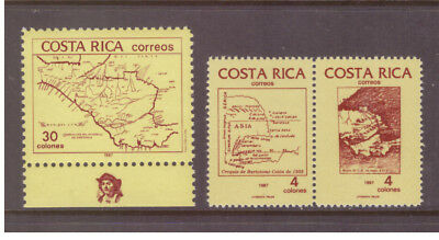 Costa Rica MNH 1987 Discovery of America by Columbus ,Maps  set  mint stamps