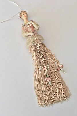 Victorian Provincial Woman Lady Pink Tassel Beaded Resin Christmas Ornament
