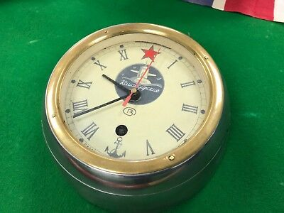 Vintage Russian Submarine Clock  Heavy Round Glass Front