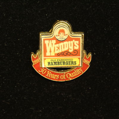 Vintage Wendy's Old Fashioned Hamburgers 30 Years of Quality Pin