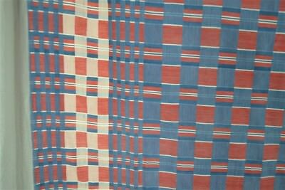 antique damask table cloth turkey red white blue check shell border unusual