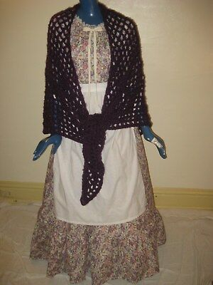 1X 3X Pioneer Colonial Prairie Frontier Trek Dress Apron & Shawl Women Purple