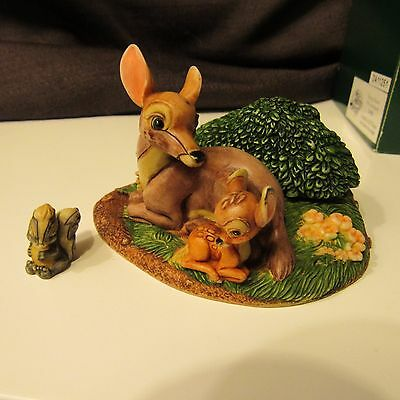 Harmony Kingdom Disney Newborn Fawn Bambi with Mother and Flower the Skunk