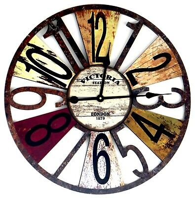 """60cm Wall Clock Large Wooden Retro Vintage Office Home Bar Hotel Decoration 24"""""""